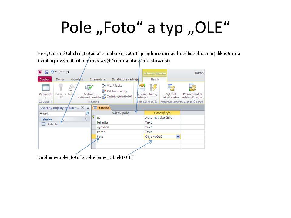 "Pole ""Foto"" a typ ""OLE"""