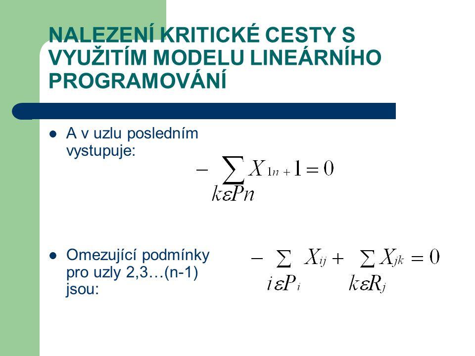 NALEZENÍ KRITICKÉ CESTY S VYUŽITÍM MODELU LINEÁRNÍHO PROGRAMOVÁNÍ A v uzlu posledním vystupuje: Omezující podmínky pro uzly 2,3…(n-1) jsou: