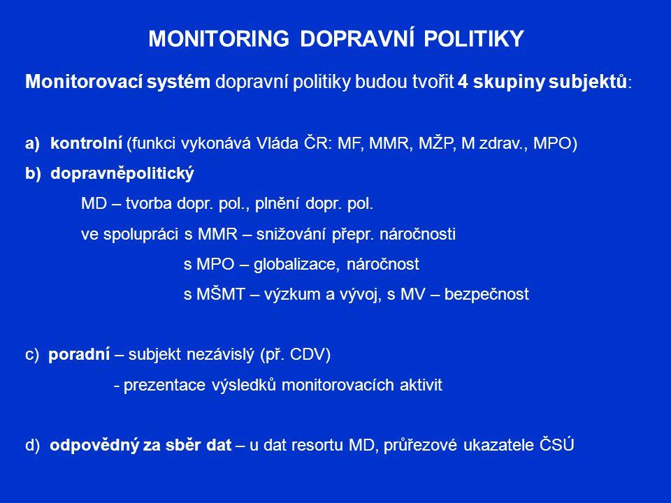 MONITORING DOPRAVNÍ POLITIKY Monitorovací systém dopravní politiky budou tvořit 4 skupiny subjektů : a)kontrolní (funkci vykonává Vláda ČR: MF, MMR, M