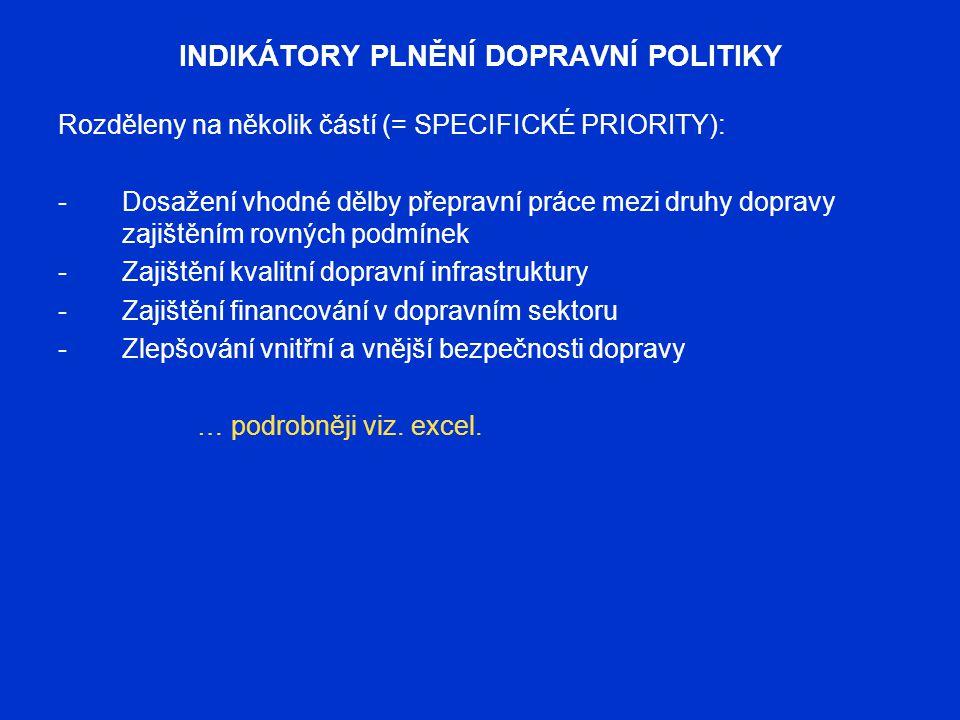 INDIKÁTORY PLNĚNÍ DOPRAVNÍ POLITIKY Rozděleny na několik částí (= SPECIFICKÉ PRIORITY): -Dosažení vhodné dělby přepravní práce mezi druhy dopravy zaji