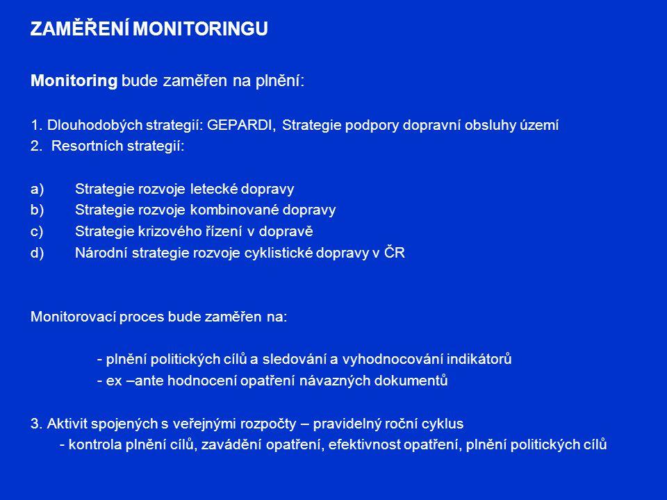 ZAMĚŘENÍ MONITORINGU Monitoring bude zaměřen na plnění: 1. Dlouhodobých strategií: GEPARDI, Strategie podpory dopravní obsluhy území 2. Resortních str