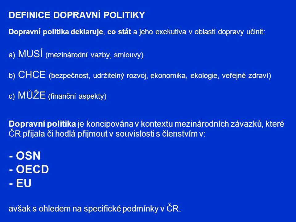 DEFINICE DOPRAVNÍ POLITIKY Dopravní politika deklaruje, co stát a jeho exekutiva v oblasti dopravy učinit: a) MUSÍ (mezinárodní vazby, smlouvy) b) CHC