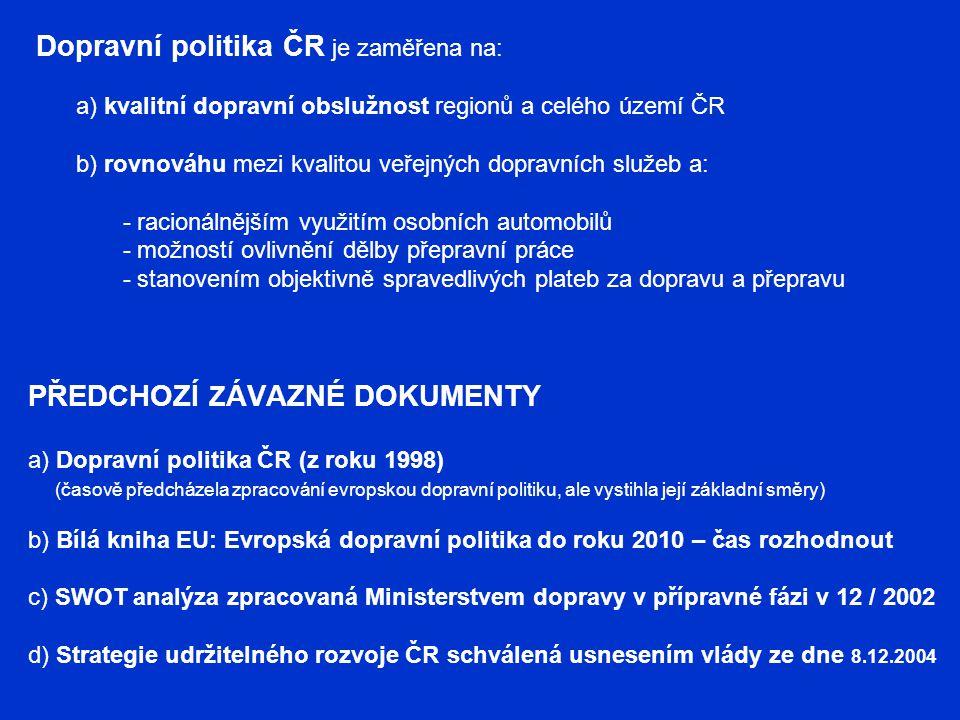 PŘEDCHOZÍ Z ÁVAZNÉ DOKUMENTY a) Dopravní politika ČR (z roku 1998) (časově předcházela zpracování evropskou dopravní politiku, ale vystihla její zákla