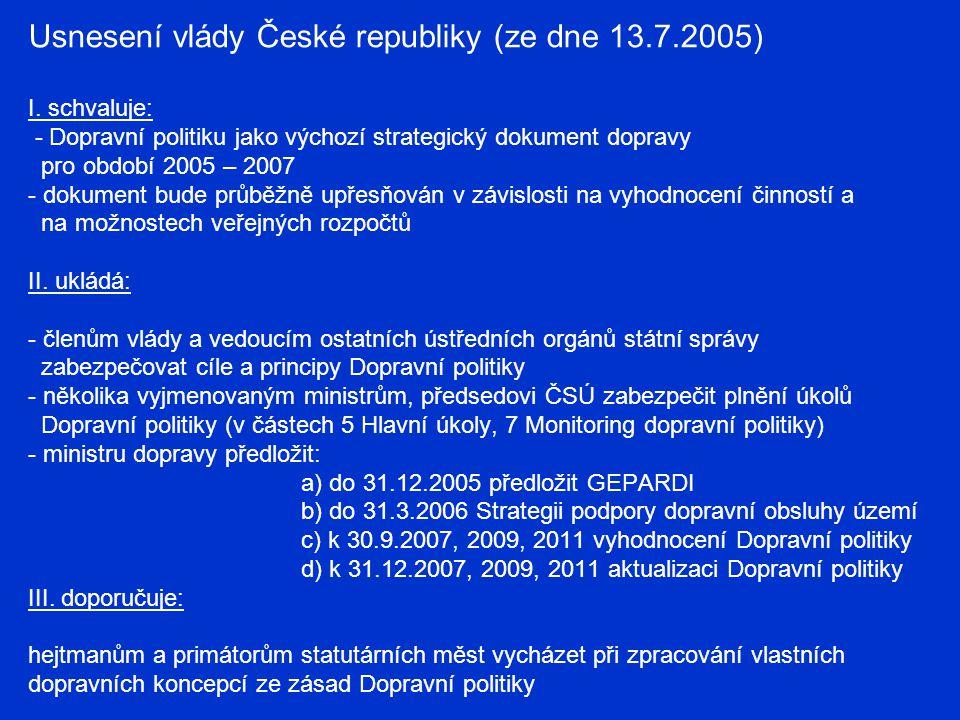 Usnesení vlády České republiky (ze dne 13.7.2005) I. schvaluje: - Dopravní politiku jako výchozí strategický dokument dopravy pro období 2005 – 2007 -