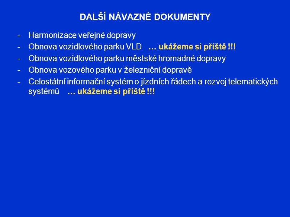 DALŠÍ NÁVAZNÉ DOKUMENTY -Harmonizace veřejné dopravy -Obnova vozidlového parku VLD … ukážeme si příště !!! -Obnova vozidlového parku městské hromadné
