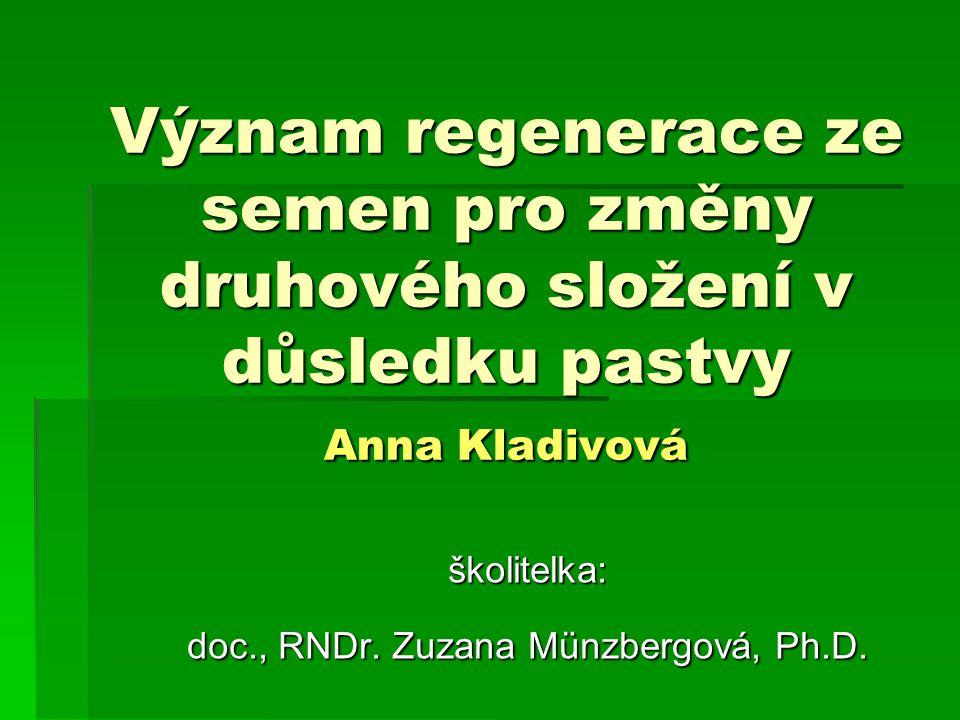 Význam regenerace ze semen pro změny druhového složení v důsledku pastvy Anna Kladivová školitelka: doc., RNDr. Zuzana Münzbergová, Ph.D.