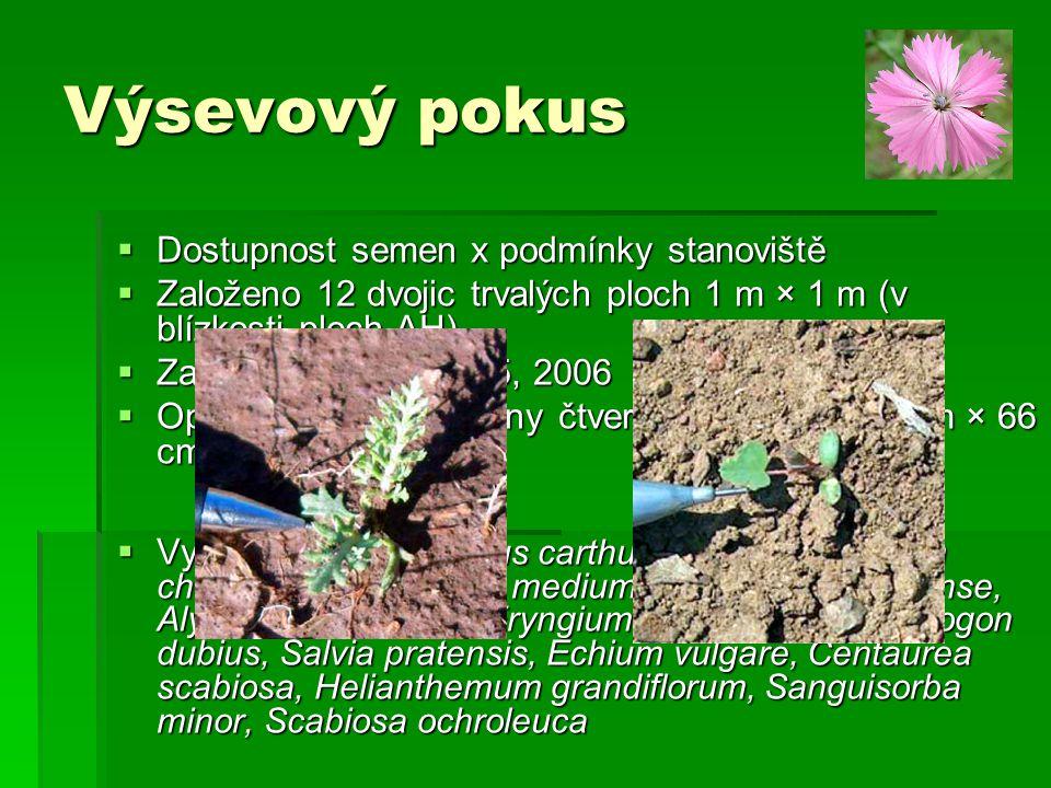 Výsevový pokus  Dostupnost semen x podmínky stanoviště  Založeno 12 dvojic trvalých ploch 1 m × 1 m (v blízkosti ploch AH)  Založen v letech 2005,