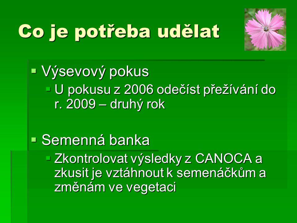  Výsevový pokus  U pokusu z 2006 odečíst přežívání do r. 2009 – druhý rok  Semenná banka  Zkontrolovat výsledky z CANOCA a zkusit je vztáhnout k s
