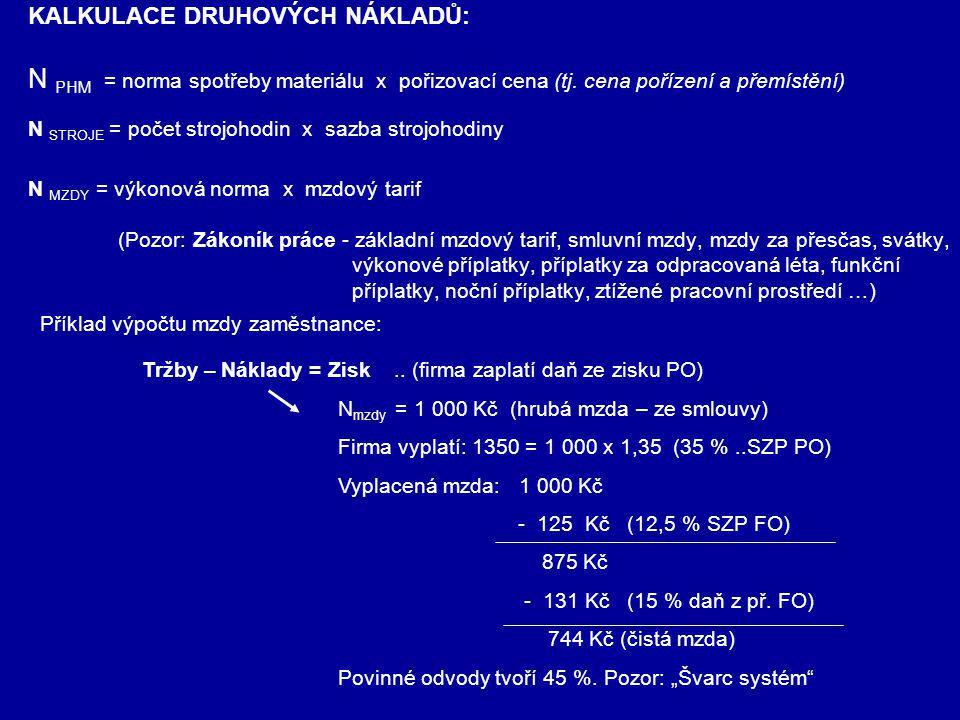 KALKULACE DRUHOVÝCH NÁKLADŮ: N PHM = norma spotřeby materiálu x pořizovací cena (tj. cena pořízení a přemístění) N STROJE = počet strojohodin x sazba