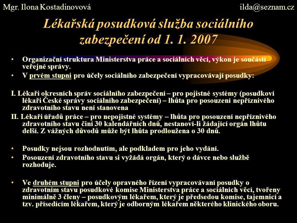Lékařská posudková služba sociálního zabezpečení od 1. 1. 2007 Organizační struktura Ministerstva práce a sociálních věcí, výkon je součástí veřejné s