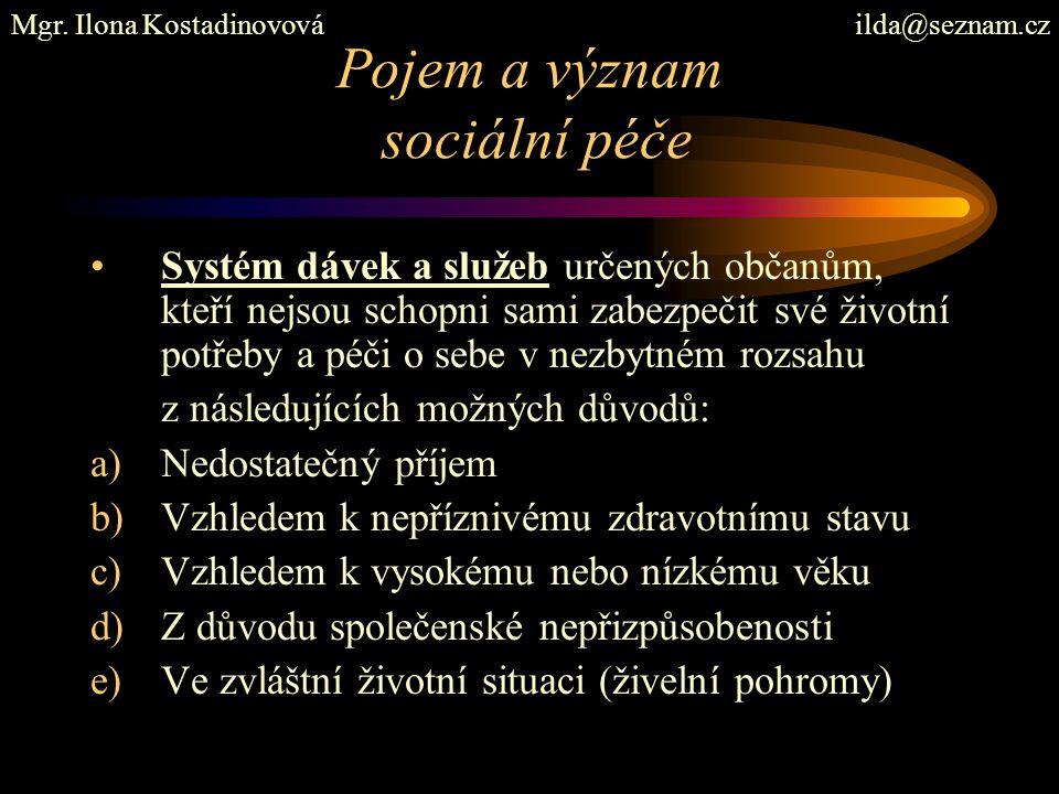 Příspěvek na péči, zákon č.108/2006 Sb., o sociálních službách, s účinností od 1.1.