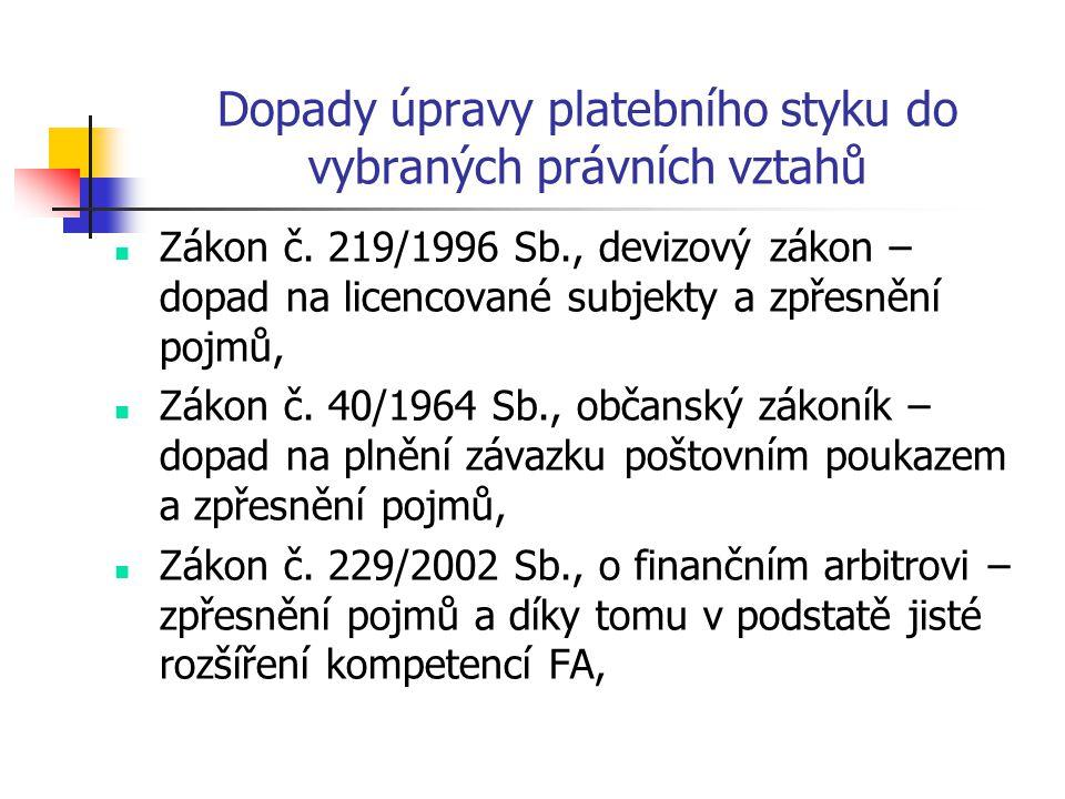 Dopady úpravy platebního styku do vybraných právních vztahů Zákon č. 219/1996 Sb., devizový zákon – dopad na licencované subjekty a zpřesnění pojmů, Z