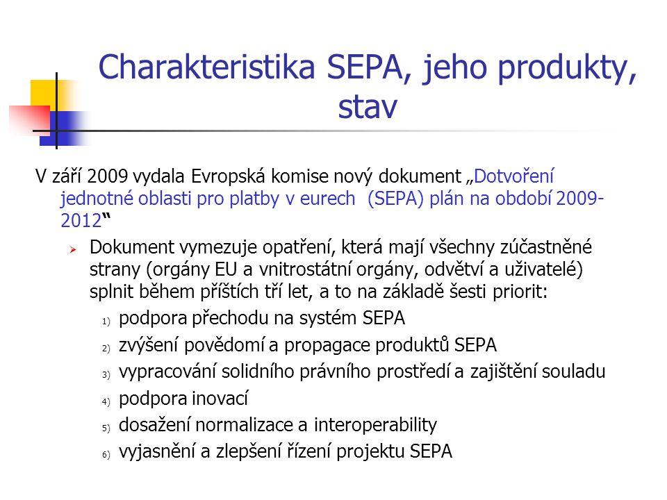 """Charakteristika SEPA, jeho produkty, stav V září 2009 vydala Evropská komise nový dokument """"Dotvoření jednotné oblasti pro platby v eurech (SEPA) plán"""