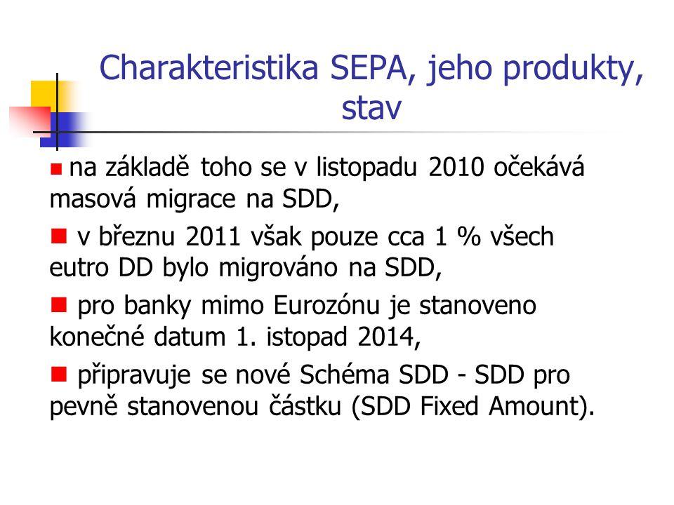 Charakteristika SEPA, jeho produkty, stav na základě toho se v listopadu 2010 očekává masová migrace na SDD, v březnu 2011 však pouze cca 1 % všech eu