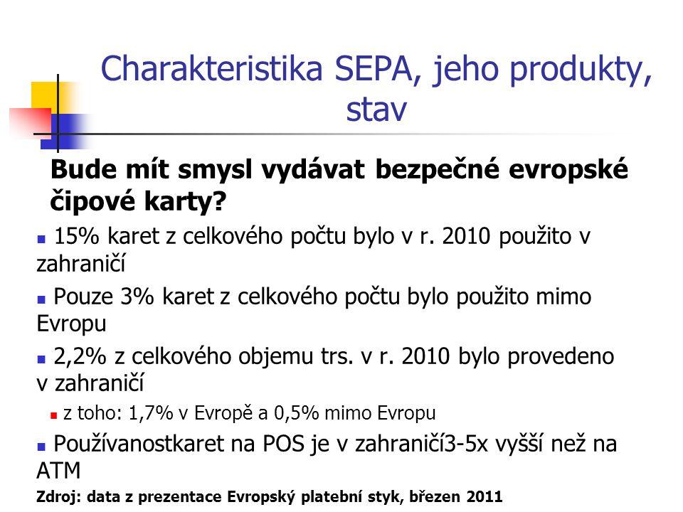 Charakteristika SEPA, jeho produkty, stav Bude mít smysl vydávat bezpečné evropské čipové karty? 15% karet z celkového počtu bylo v r. 2010 použito v