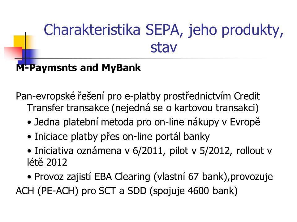 Charakteristika SEPA, jeho produkty, stav M-Paymsnts and MyBank Pan-evropské řešení pro e-platby prostřednictvím Credit Transfer transakce (nejedná se