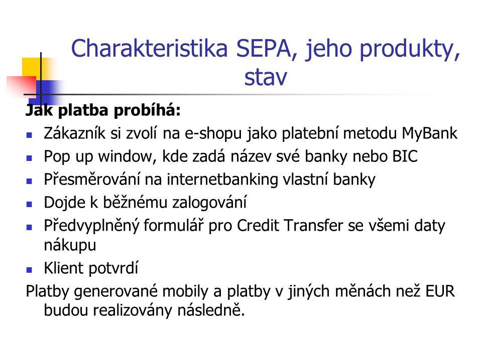 Charakteristika SEPA, jeho produkty, stav Jak platba probíhá: Zákazník si zvolí na e-shopu jako platební metodu MyBank Pop up window, kde zadá název s
