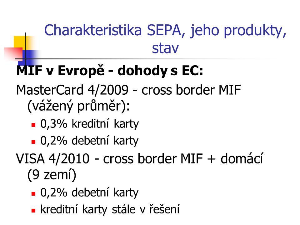 Charakteristika SEPA, jeho produkty, stav MIF v Evropě - dohody s EC: MasterCard 4/2009 - cross border MIF (vážený průměr): 0,3% kreditní karty 0,2% d