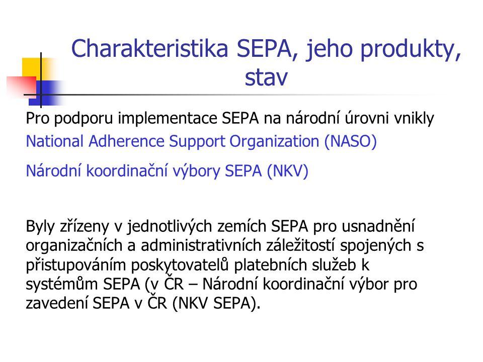 Charakteristika SEPA, jeho produkty, stav Pro podporu implementace SEPA na národní úrovni vnikly National Adherence Support Organization (NASO) Národn