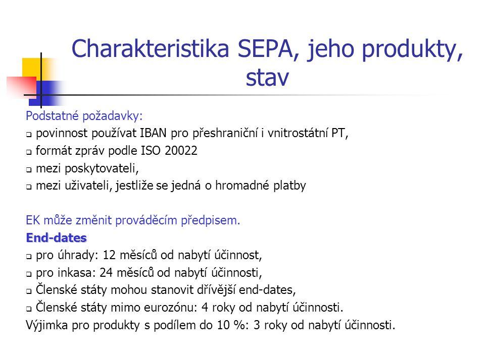 Charakteristika SEPA, jeho produkty, stav Podstatné požadavky:  povinnost používat IBAN pro přeshraniční i vnitrostátní PT,  formát zpráv podle ISO