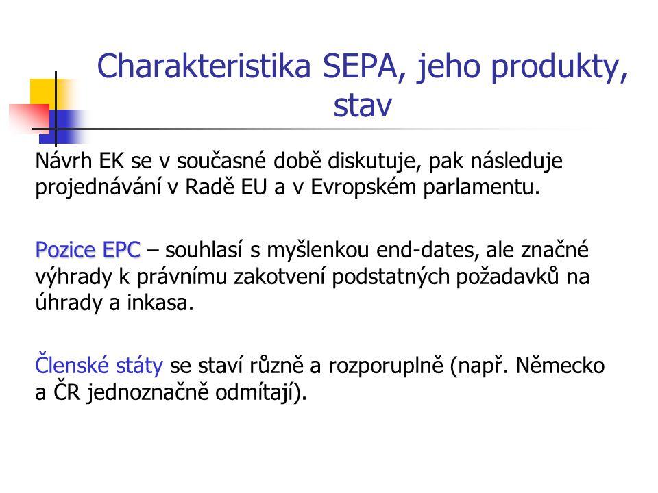 Charakteristika SEPA, jeho produkty, stav Návrh EK se v současné době diskutuje, pak následuje projednávání v Radě EU a v Evropském parlamentu. Pozice
