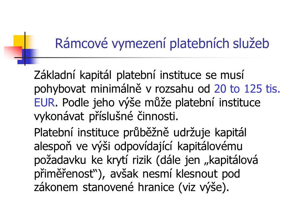 Rámcové vymezení platebních služeb Základní kapitál platební instituce se musí pohybovat minimálně v rozsahu od 20 to 125 tis. EUR. Podle jeho výše mů