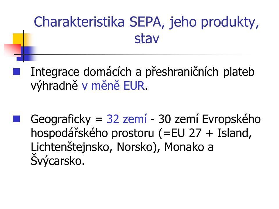 Charakteristika SEPA, jeho produkty, stav Integrace domácích a přeshraničních plateb výhradně v měně EUR. Geograficky = 32 zemí - 30 zemí Evropského h
