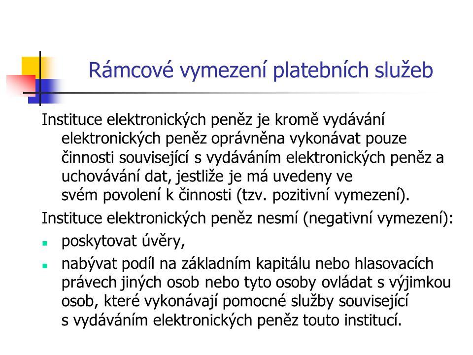 Rámcové vymezení platebních služeb Instituce elektronických peněz je kromě vydávání elektronických peněz oprávněna vykonávat pouze činnosti souvisejíc