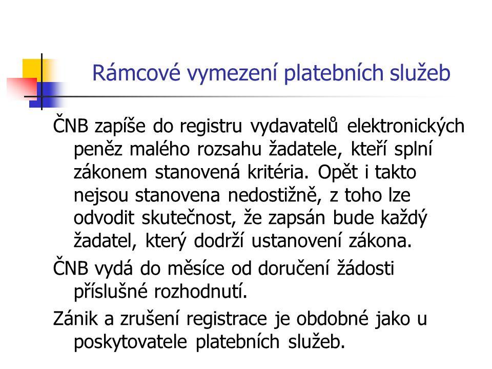 Rámcové vymezení platebních služeb ČNB zapíše do registru vydavatelů elektronických peněz malého rozsahu žadatele, kteří splní zákonem stanovená krité