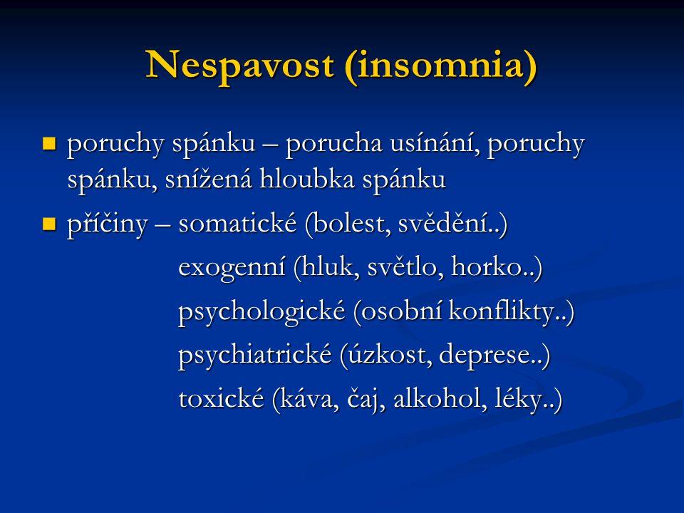 Nespavost (insomnia) poruchy spánku – porucha usínání, poruchy spánku, snížená hloubka spánku poruchy spánku – porucha usínání, poruchy spánku, snížen