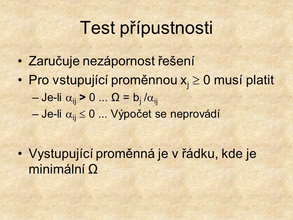 Test přípustnosti Zaručuje nezápornost řešení Pro vstupující proměnnou x j  0 musí platit –Je-li  ij > 0... Ω = b j /  ij –Je-li  ij  0... Výpoče