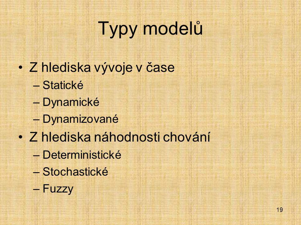 19 Typy modelů Z hlediska vývoje v čase –Statické –Dynamické –Dynamizované Z hlediska náhodnosti chování –Deterministické –Stochastické –Fuzzy