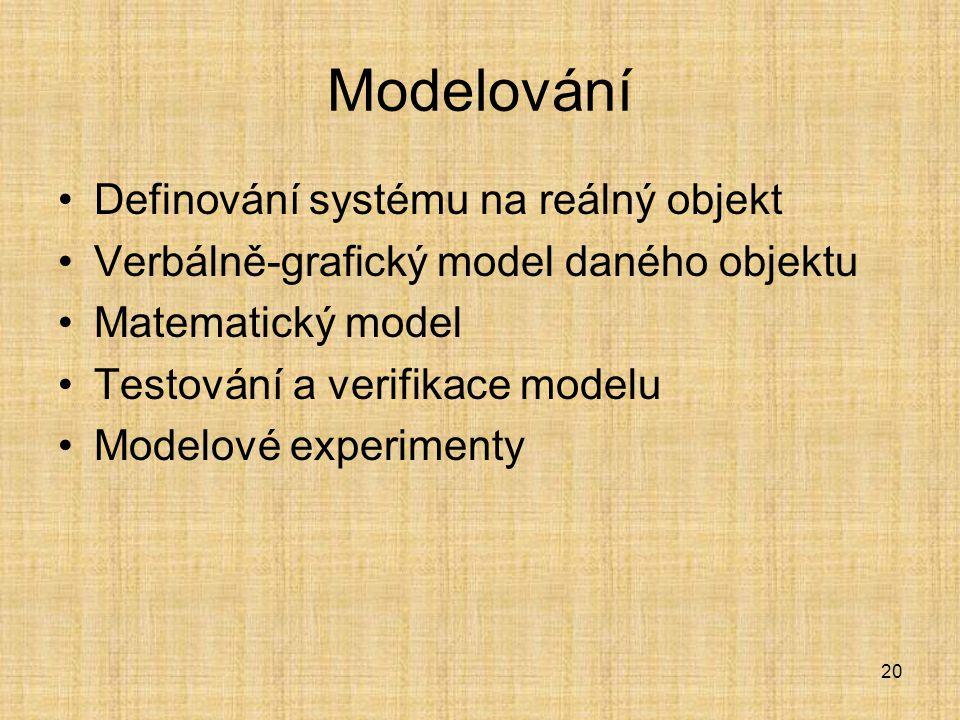 20 Modelování Definování systému na reálný objekt Verbálně-grafický model daného objektu Matematický model Testování a verifikace modelu Modelové expe