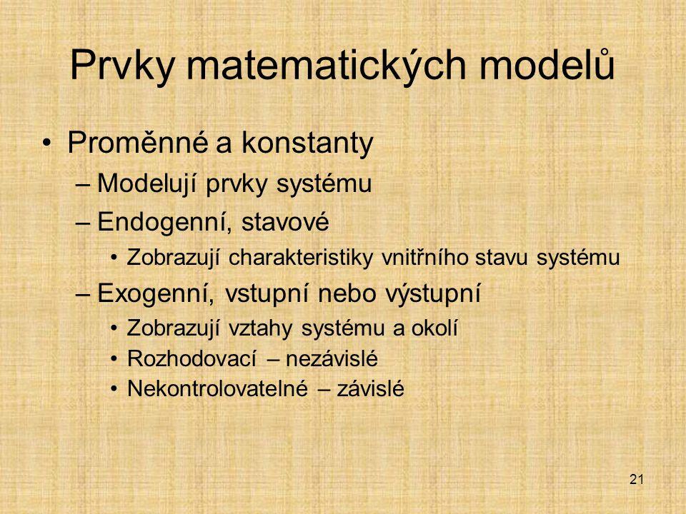 21 Prvky matematických modelů Proměnné a konstanty –Modelují prvky systému –Endogenní, stavové Zobrazují charakteristiky vnitřního stavu systému –Exog