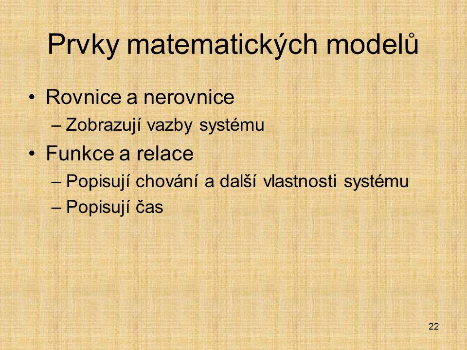22 Prvky matematických modelů Rovnice a nerovnice –Zobrazují vazby systému Funkce a relace –Popisují chování a další vlastnosti systému –Popisují čas