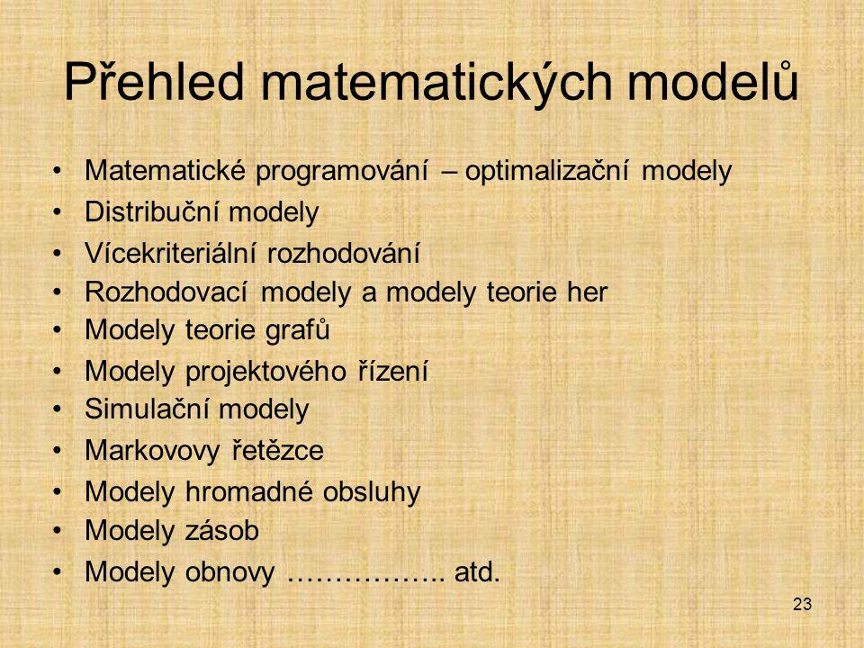 23 Přehled matematických modelů Matematické programování – optimalizační modely Distribuční modely Vícekriteriální rozhodování Rozhodovací modely a mo