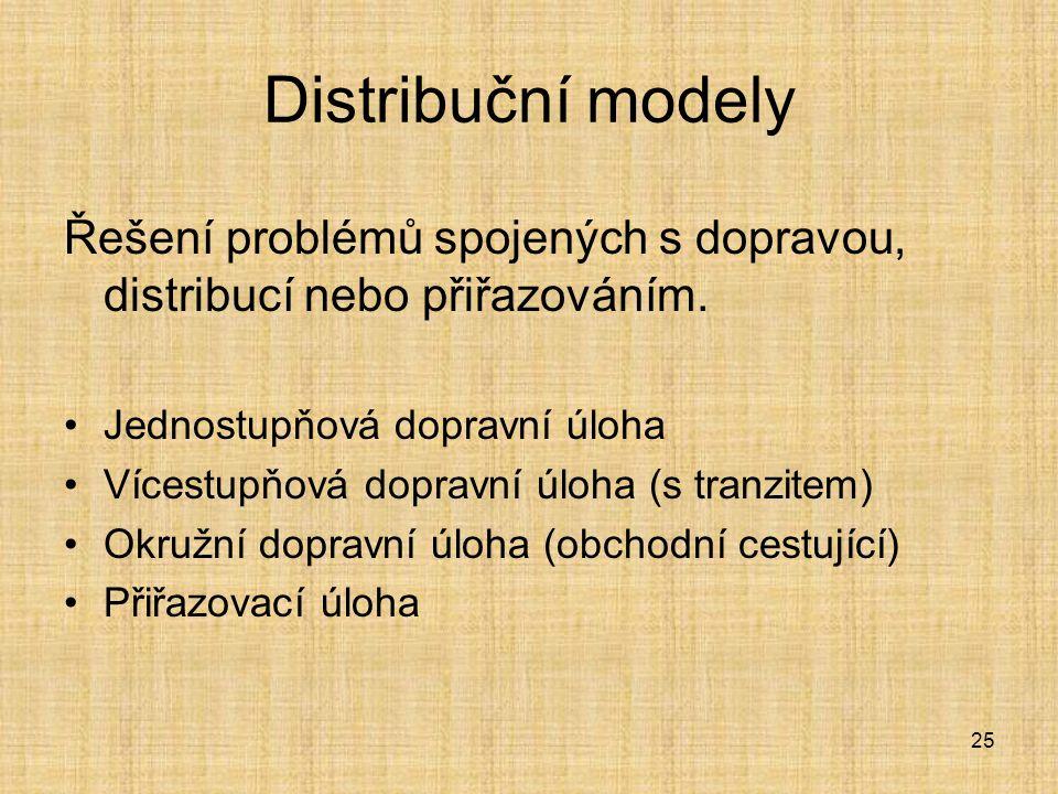25 Distribuční modely Řešení problémů spojených s dopravou, distribucí nebo přiřazováním. Jednostupňová dopravní úloha Vícestupňová dopravní úloha (s