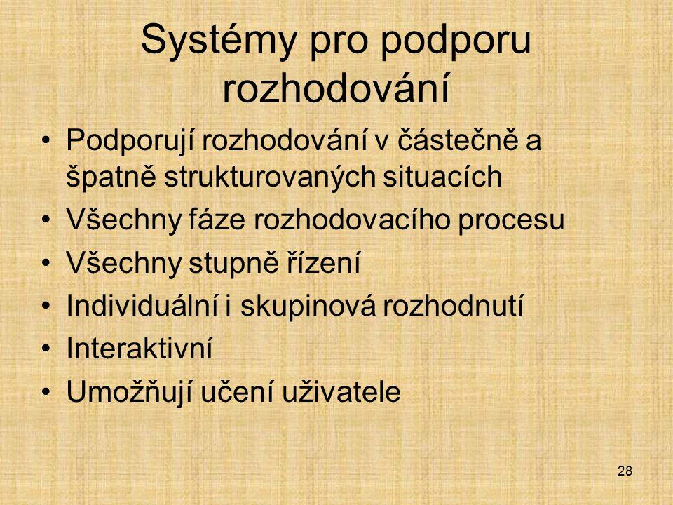 28 Systémy pro podporu rozhodování Podporují rozhodování v částečně a špatně strukturovaných situacích Všechny fáze rozhodovacího procesu Všechny stup