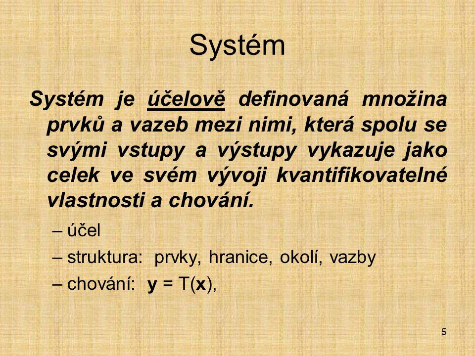 5 Systém Systém je účelově definovaná množina prvků a vazeb mezi nimi, která spolu se svými vstupy a výstupy vykazuje jako celek ve svém vývoji kvanti