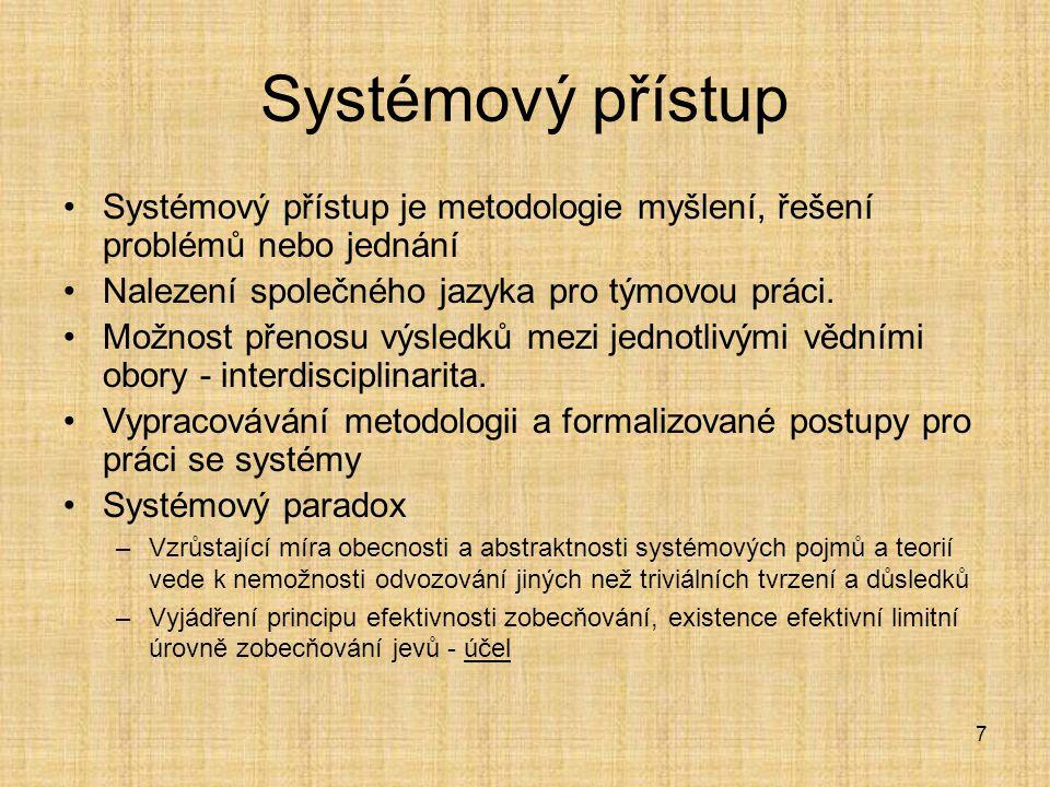 18 Typy modelů Normativní modely –Ukazují optimální, žádoucí stav systému Deskriptivní modely –Popisují systém a jeho chování, neobsahují kritérium Koncepční modely –Popisují koncepci nově navrhovaného systému