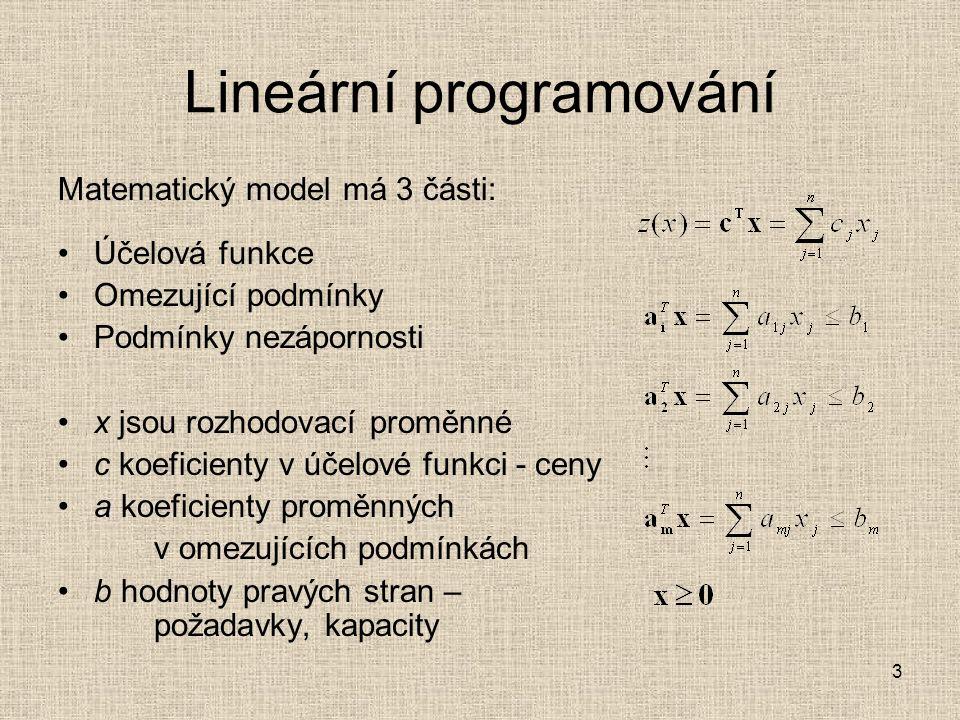 3 Lineární programování Matematický model má 3 části: Účelová funkce Omezující podmínky Podmínky nezápornosti x jsou rozhodovací proměnné c koeficient