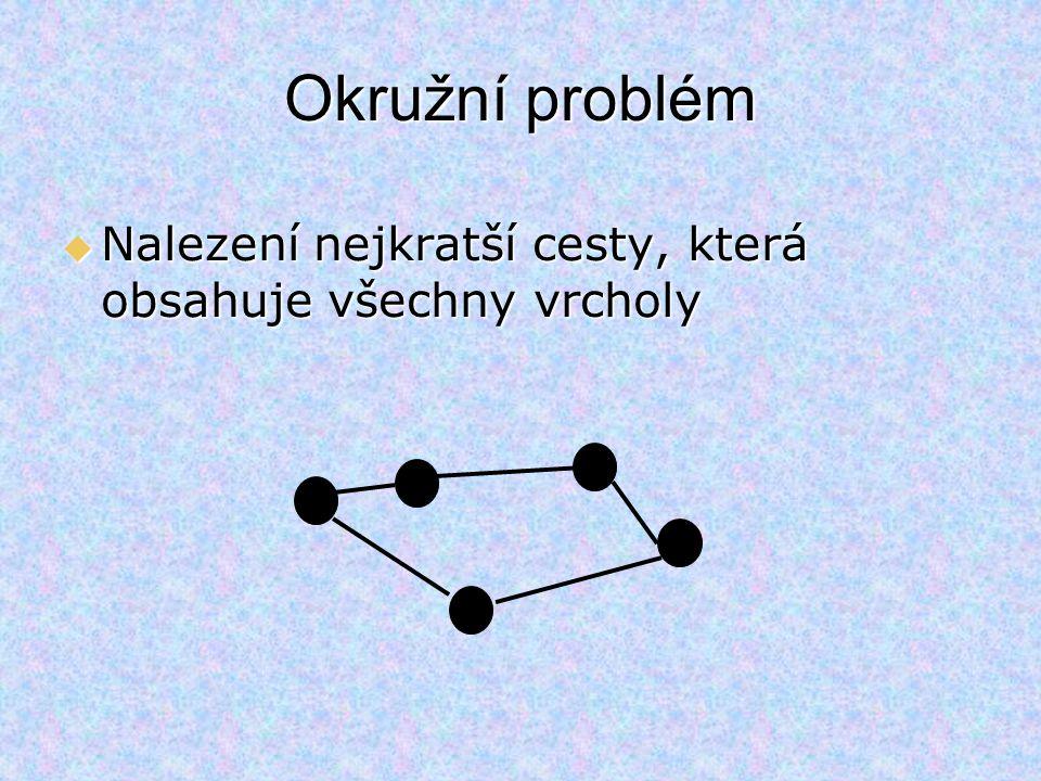 Víceokruhový problém  Nalezení několika kružnic –obsahují centrální vrchol –dohromady obsahují všechny ostatní vrcholy –jednotlivé okruhy splňují dodatečné podmínky