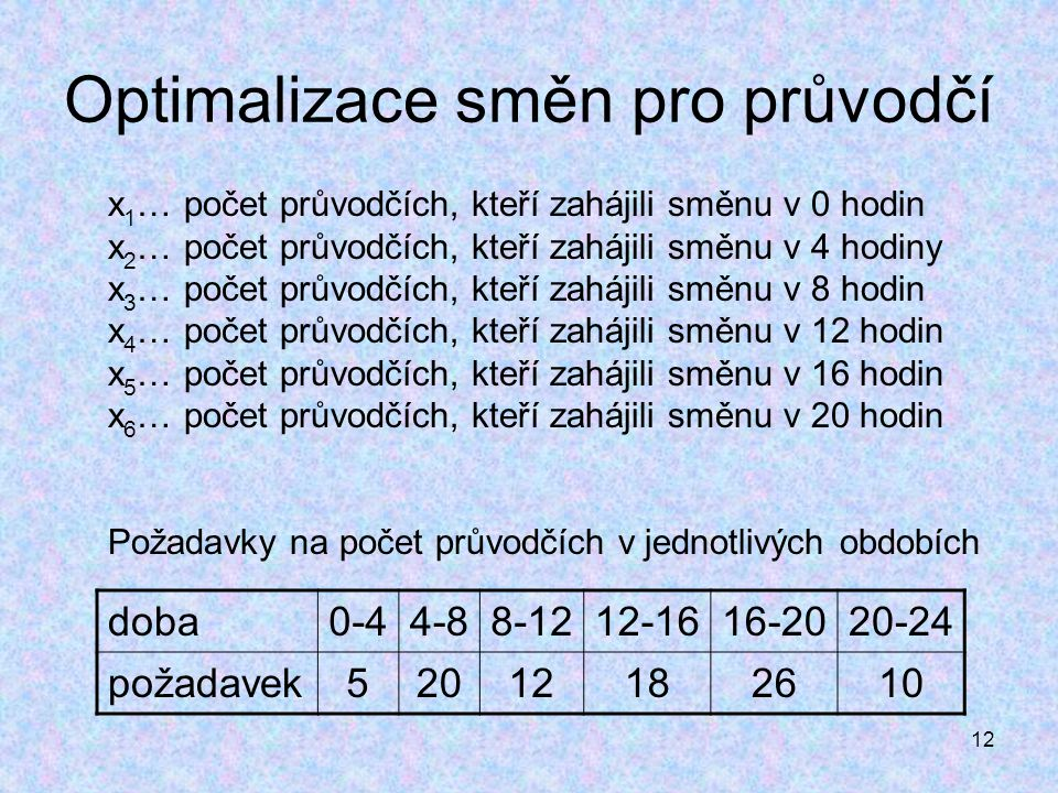 12 Optimalizace směn pro průvodčí x 1 … počet průvodčích, kteří zahájili směnu v 0 hodin x 2 … počet průvodčích, kteří zahájili směnu v 4 hodiny x 3 …