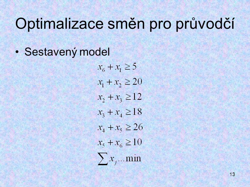 13 Optimalizace směn pro průvodčí Sestavený model