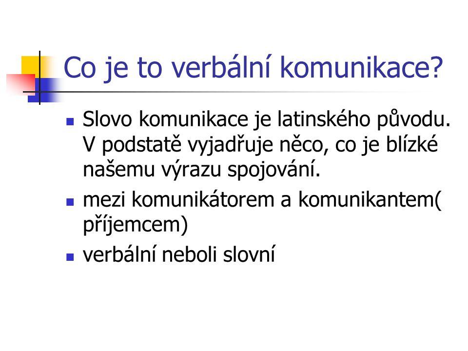 Co je to verbální komunikace. Slovo komunikace je latinského původu.
