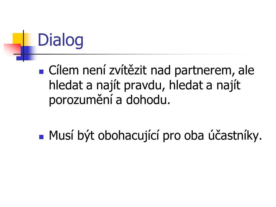 Dialog Cílem není zvítězit nad partnerem, ale hledat a najít pravdu, hledat a najít porozumění a dohodu.