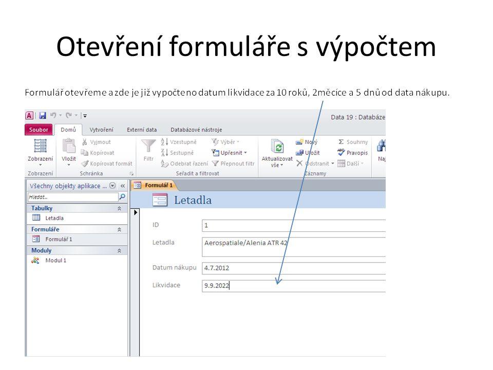 Otevření formuláře s výpočtem