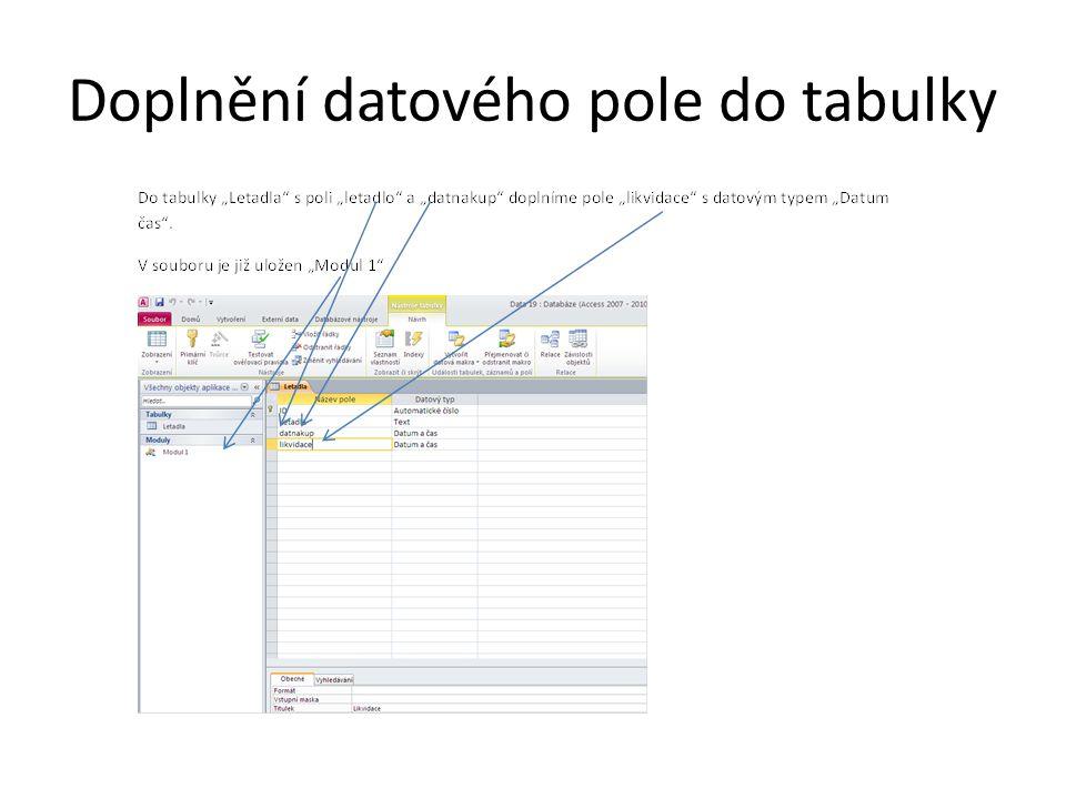 Doplnění datového pole do tabulky
