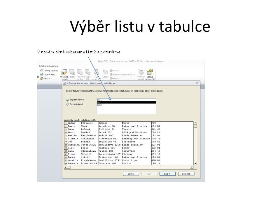 Výběr listu v tabulce