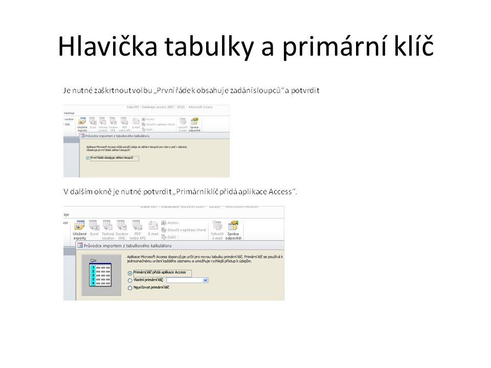 Hlavička tabulky a primární klíč